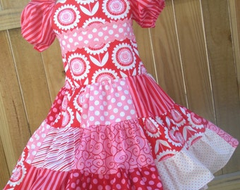 Ready to Ship Custom Red Pink Hello Sunshine Spring Girl Dress Will Fit Sizes 4 or 5