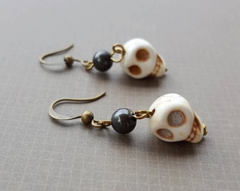 SALE - Skull and Hematite Earrings, Ivory Brown Bronze, Halloween October Horror Scary Terror - Bella Mia Beads - READY to SHIP