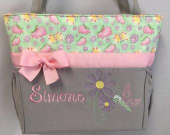 Butterflies and Daisies .. Diaper Bag ... Tote...  .. Bottle Pockets .. Zipper Closure