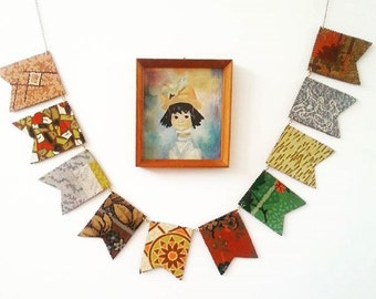 Square Vintage Lino Bunting