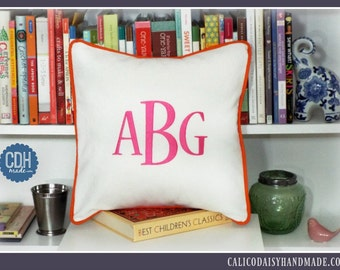 Large Font Monogrammed Pillow Cover - 12 x 12 square