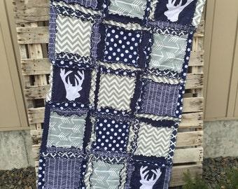 Tribal Crib Bedding Crib Size Rag Quilt - Navy / Gray - Deer Baby Rag Quilt - Arrow Crib Bedding - Hunting Quilt - Rustic Rag Quilt