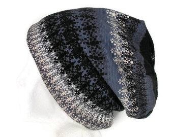 100% Cotton Aztec Beanie Lightweight All Seasons Waffle Knit Slouchy Beanie All Cotton Waffle Knit Slouchy Beanie Black Jersey Slouchy Hat