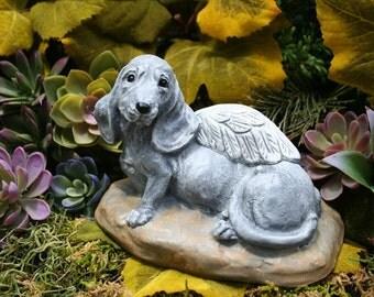 Dog Angel Statue Dachshund Memorial Dog Garden Art Sculptures
