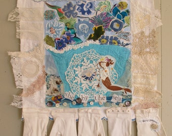 MERMAID by the Sea -  Fabric Folk Art Collage Textile Assemblage - Altered Vintage Materials & Random Scraps Beach Cottage  Quilt -  mybonny