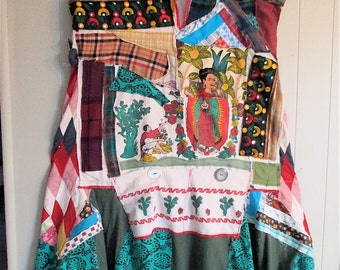 MEXICAN FOLKLORE FRIDA -- Wearable Art Collage Clothing -- Mexico Fiesta Wear-  mybonny random scraps of fabric