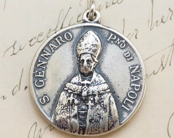 St Gennaro / Januarius Medal - Patron of Naples, Itlay - Antique Reproduction