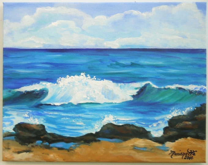 Original  Paintings from Kauai Hawaii  - Kauai Big Surf 2 - Hawaiian Beach Paintings - Ocean Wave Art - Hawaiian Decor - blue teal Poipu