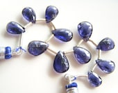 Deep Violet Iolite Faceted Drops - Full Strand - 9 to 11.5mm - 4 Inches