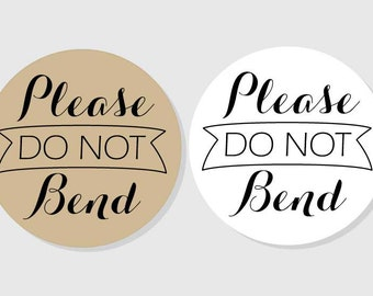 Please Do Not Bend Stickers - Do Not Bend Sticker - kraft & white matte finish - assorted sizes - 1.5 inch - 2 inch - 2.5 inch - 3 inch
