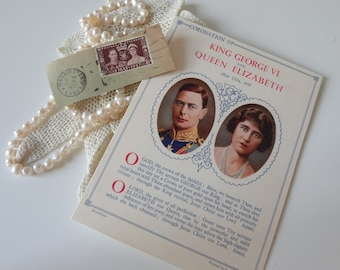 Vintage  Prayer Card & English Postage Stamp Coronation King George VI and Queen Elizabeth Circa 1937 - EnglishPreserves