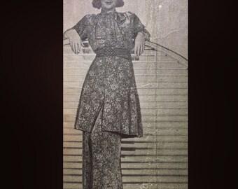 Vintage 30s Palazzo Pants Tunic Top Hostess Set Pantsuit Five Star Sewing Pattern 1305 B36