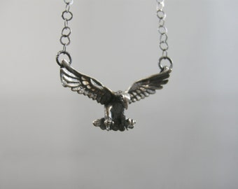 handmade sterling necklace made with vintage sterling eagle, eagle with wings outstretched, talons ready to pick up prey, stamped 925