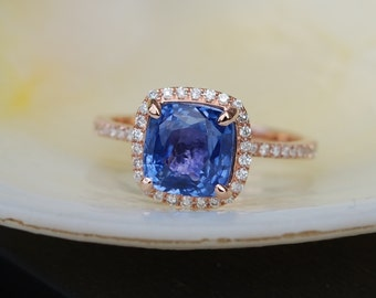 Cornflower blue sapphire ring. Square cushion diamond ring. 14k rose gold ring engagement ring by Eidelprecious.