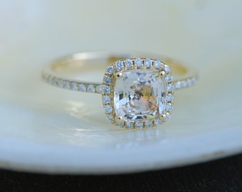 Champagne sapphire ring.  Engagement Ring square cushion 14k yellow gold diamond ring. 1.25ct sapphire ring by Eidelprecious.