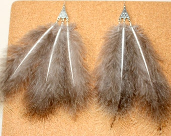 FEATHER Earrings -- Bird, Native American, Southwest - Style 29 - Triple Feather