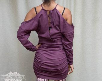 Sale - WASABI DRESS SWEATER - Organic Long sleeve Boho Bohemian Hippie Urban Yoga Pixie Faery Fairy Burning man Gypsy Witch Goa - Purple