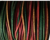 ON SALE 1.5mm Gypsy Dyed Kinte Round Indian Leather Cord 2 yards for Wrap Bracelets Macrame Knotting Jewelry