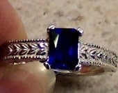 Lab Blue Sapphire Sterling Silver Ring, Cavalier Creations