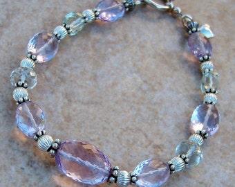 Genuine Pink and Green Amethyst Sterling Silver Bracelet, Cavalier Creations