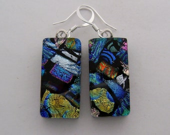 Dichroic glass jewelry earrings.