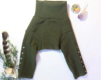 XSmall Wool Longies Moss Green / Upcycled Soaker Diaper Cover / Baby Pants Long Johns