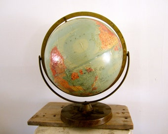 Aged Old School Globe Replogle World Globe Raised Globe Map Rotating Globe Reference Metal Stand Midcentury Office Decor  Child Room Shelf