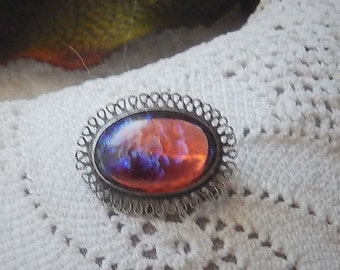 Vintage Early 1900's .925 Sterling Silver Dragon's Breath Art Glass Brooch/Pin