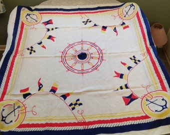 New Price!! RARE Vintage Linen Nautical Tablecloth 52x52  Free Shipping!