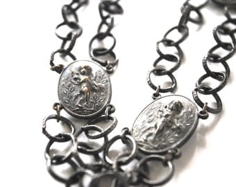 necklace cherub medallions and chain victorian revival cherubs angels antique vintage costume jewelry romantic angelic jewellery