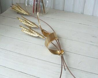 Vintage Brass Wheat Stalks Wall Hanging