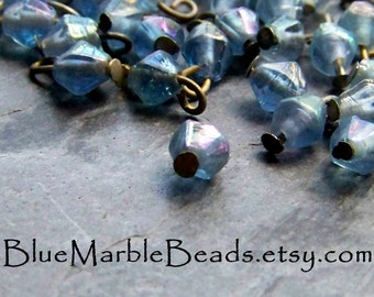Glass Charm, Small Glass Beads, Pressed Glass Beads, Blue Glass, Brass Charm, Steel Charm, Blue AB, 50 Beads