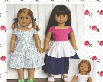 """18 inch Doll Clothes Pattern NEW Ella Dress 18"""" doll clothing Paper Sewing Pattern"""