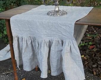 Linen Table Runner Ruffled Linen Runner Wedding Décor Table Settings Table Decor French Country Farmhouse Wedding Gift Custom