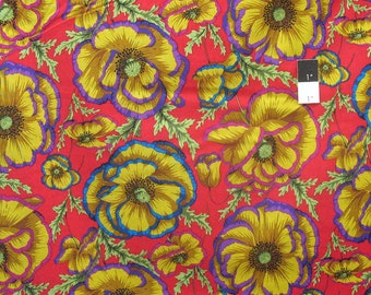 Philip Jacobs PWPJ059 Banded Poppy Carmine Cotton Fabric By The Yard