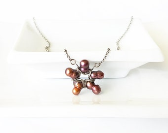 Wine star pearl necklace, baroque cultured freshwater pearls, wirewrapped necklace, stainless steel chain - wine, dark mauve