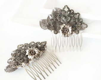 Marcasite Comb - Bridal headpiece, bridal comb, Victorian comb, Gothic headpiece, Gothic comb, vintage comb, sterling silver, French beaded