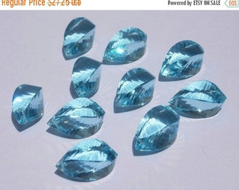 55% OFF SALE 2 Pieces 1 Matched Pair - Extremely Beautiful AAA Sky Blue Quartz Faceted Fancy Spiral Briolettes Size 19x10mm approx