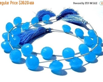 55% OFF SALE Neon Blue Chalcedony Faceted Onion Shaped Briolettes 11Pcs 5 matched pair and a focal pendant