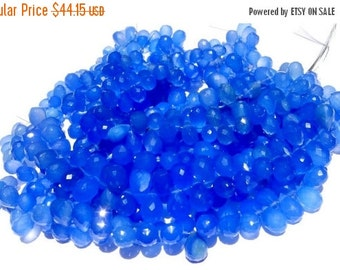 55% OFF SALE 1/2 Strand -  Finest Quality Blue Chalcedony Faceted Drop Briolettes Size 11 x8 - 12x8mm approx
