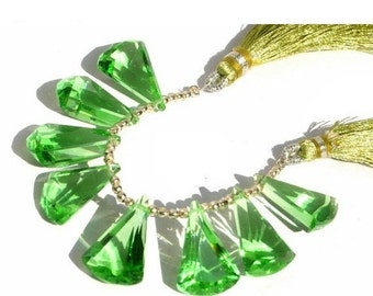 50% Off Valentine day 7 Inches - Extremely Beautiful AAA Peridot Green Quartz Faceted Elongated Fan Shaped Fancy Briolettes Size 20x13mm