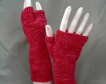 Long Gloves Fingerless Mitts Cashmere Silk Merino Blend Luxe Bright Red Torchere