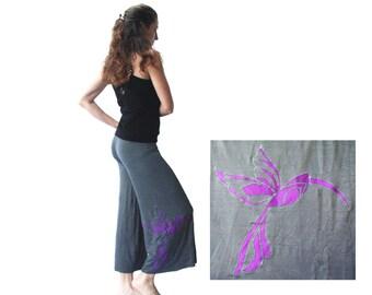 Moonlight Hummingbird- Yoga Capris with OOAK applique