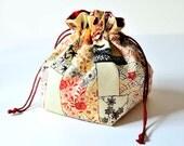 Kimono Silk Medium Drawstring Pouch Elegant Katazome