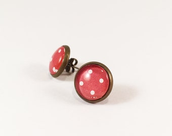 Red Polka Dot Antique Brass Studs