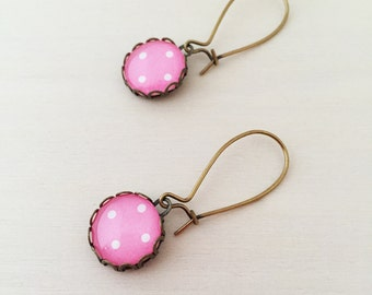 Pink Polka Dot Antique Brass Glass Earrings
