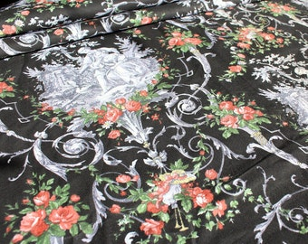 Toile Cotton Fabric in Black with Gray Imagery and Rose Bouquets - 1 Yard
