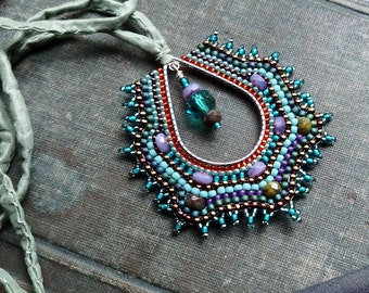 Peacock Deco Necklace, Beaded Teardrop Pendant on Rolled Silk Cord
