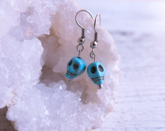 Turquoise Howlite Skull Earrings Day of the Dead