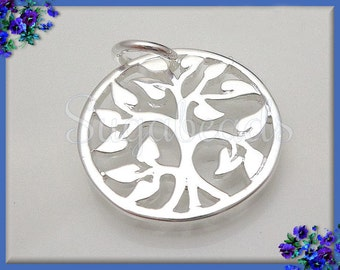 1 Round Silver Tree Charm - Silver plated Natural Bronze Tree 15mm ND22